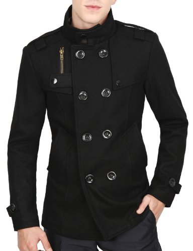 9Xis Mens Casual Fashionable Half Coat BLACK L (9MO030)
