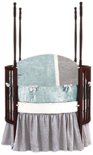 Baby Doll Round Crib Bedding Set, Blue, 4 Piece