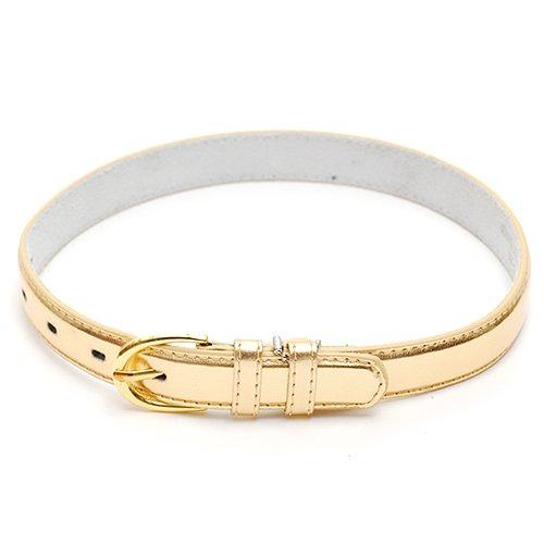 Little Girls Accessory Metallic Gold Trendy Leather Belt Size S-L