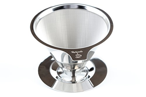 Maranello Caffé - Pour Over Coffee Dripper - Stainless Steel Pour Over Coffee Maker - Drip Coffee Maker w/ Cup Stand - Reusable Permanent Paperless Micro Mesh Filter Single Serve Brew Through Design (Over The Cup Drip Single compare prices)