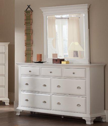 Roundhill Furniture Laveno 012 White Wood 7-Drawer Dresser and Mirror