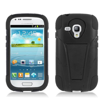 Qtech Sami8190Pcmsk001S Durable Rugged Hybrid Case For Samsung Galaxy S3 Mini - 1 Pack - Retail Packaging - Black