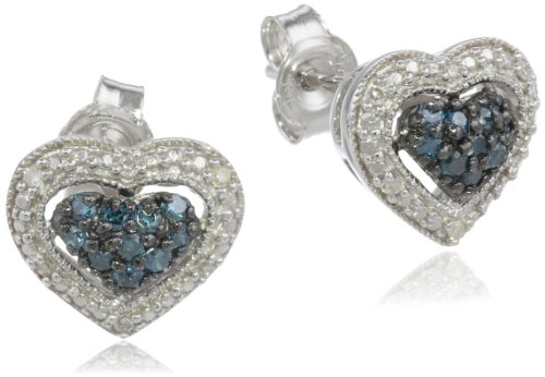 Black Rhodium Sterling Silver Blue and White Diamond Ear-Pin Stud Earrings (0.25 Cttw, G-H Color, I1-I2 Clarity)
