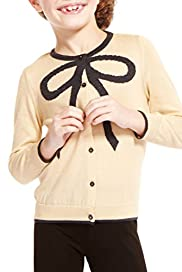 Cotton Rich Metallic Effect Bow Design Cardigan [T77-6852B-Z]