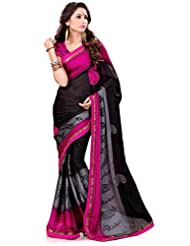 Sourbh Saree Lace Work Pink And Black Satin Chiffon Best Sarees For Women Party Wear,Karwa Chauth Gifts For Wife...