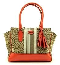 Hot Sale Coach Legacy Signature Stripe Candace Carryall Handbag Purse 19915 Khaki Carnelian