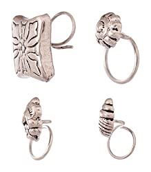 Tanishi Jewels Silver 92.5 Sterling Silver Nose Ring for Girls (NPR-2.06)