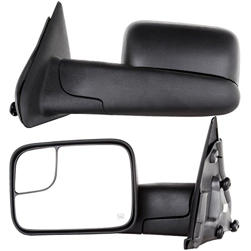 Towing Mirrors for 02-08 Dodge Ram 1500 03-09 Dodge Ram 2500 3500 Pickup Truck Power Heated Tow Folding Side View Black Mirror Pair Set: Right Passenger and Left Driver Side (02 03 04 05 06 07 08 09) (Tow Mirrors For Dodge Ram 1500 compare prices)