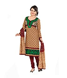 DIVISHA FASHIONS Brown and Maroon Cotton Embroidered Unstitched Suit with Dupatta