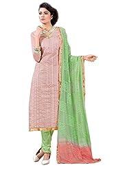 SR Women's Cotton Unstitched Dress Material (Body Coler Top Green bottom duptta)