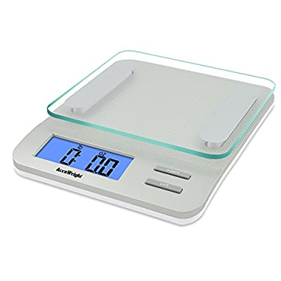 Accuweight AW-KS005WS Digital Kitchen Scale, Electronic Meat Food Weight Scale With Satety Tempered Glass, Large LCD Display, Weighs up to 5 kg/11lb