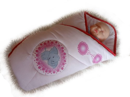Blueberry Shop Newborn Baby Swaddle Wrap Blanket Duvet Sleeping Bag Snuggle Wrap Pink Elephant