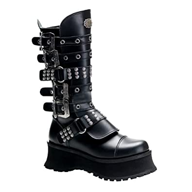 2 3/4 MENS SIZING Inch Heel Gothic Knee Boots Buckles Studs Platform Black Boots Size: 4
