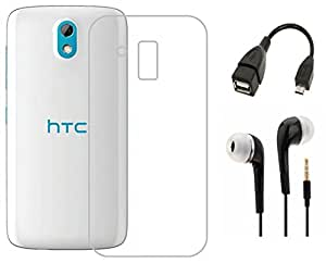Tidel Silicon TPU Transparent Soft Back Cover For HTC Desie 526 With 3.5mm Handsfree Earphone & Micro OTG Cable