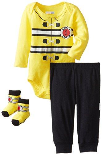 Vitamins Baby Baby-Boys Newborn Fireman 3 Piece Creeper Pant Set, Yellow, 9 Months front-109108