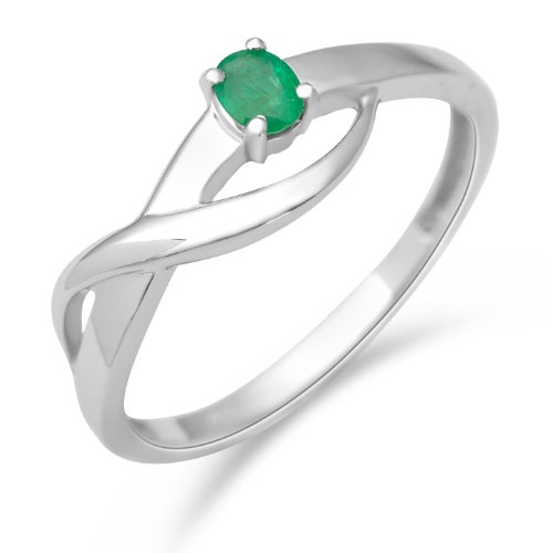 Miore 9ct White Gold Ladies' Emerald Twist Ring MA975R- Size O 1/2