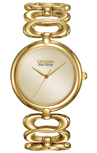 Citizen Watch Silhouette Women's Eco Drive Watch with Yellow Dial Analogue Display and Silver Stainless Steel Gold Plated Bracelet EM0222-58P