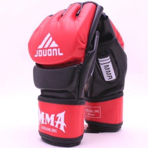 オープンフィンガーグローブ トレーニング パンチンググローブ 拳ガード ハーフフィンガー グローブ 総合格闘技 MMA UFC テコンド 2色/aja flowers (黒赤) -