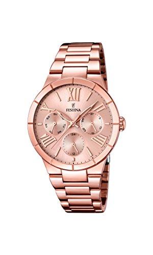 FESTINA  F16718/2 - Reloj de cuarzo para mujer, con correa de acero inoxidable chapado, color oro rosa