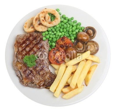 "Wallmonkeys Peel and Stick Wall Decals - Sirloin Steak with Chip, Peas, Mushrooms and Onion Rings - 48""W x 46""H Removable Graphic"