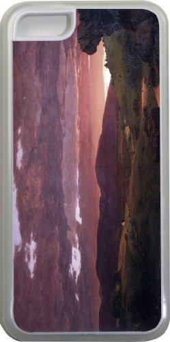 Rikki Knighttm Frederick Edwin Church Art Twilight 'Twixt Day And Night' Design Iphone 5C Case Cover (Clear Rubber With Bumper Protection) For Apple Iphone 5C front-561408