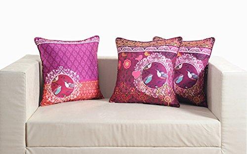 """Swayam Deco Digitally Printed 2 Piece Faux Silk Cushion Cover Set - 16""""x16"""", Multicolor - B00WTW79P6"""