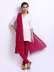 MemSahiba Women Plain Cotton Chudidaar Dupatta Combo (MS-1375_Dark Pink)
