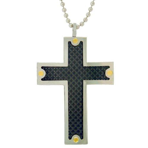 Stainless Steel Carbon Fiber Mens Cross Pendant Necklace