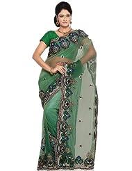 Utsav Fashion Women's Shaded Green Net Saree With Blouse