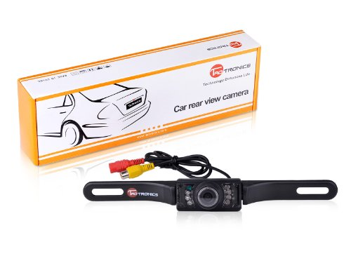 TaoTronics TT-CC01 Universal Waterproof Car License Plate Rear View Video Backup Camera with 7 LED Night Vision (Color CMOS/ 135 Degree Viewing Angle/ Distance Scale Line)