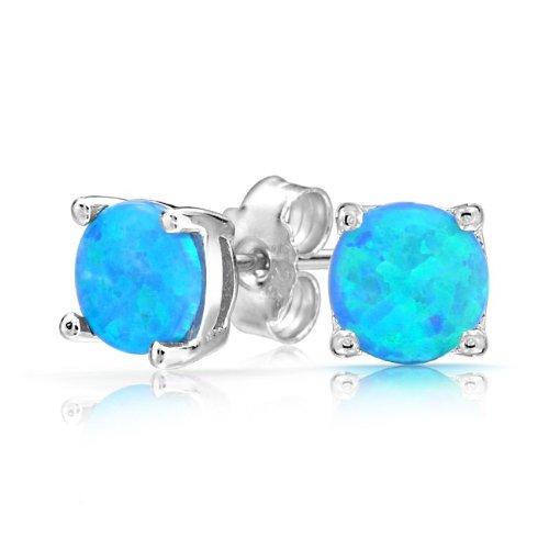Bling Jewelry 925 Sterling Silver Round Blue Opal Stud Earrings Basket Set 6mm