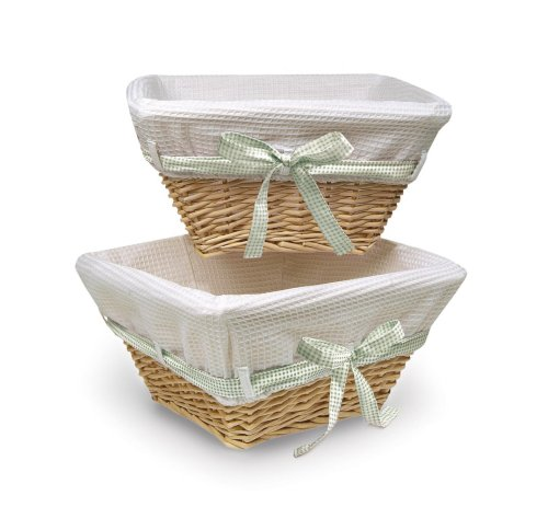 Badger Basket Natural Wicker Nursery Basket with White Waffle Liner and 4 Ribbons  Set of Two