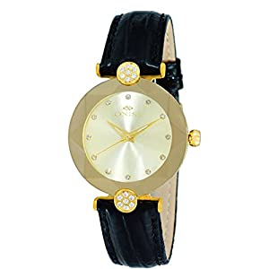 Oniss Women's Facet 44mm Black Leather Band Steel Case Swiss Quartz Gold-Tone Dial Analog Watch on8776-LGG