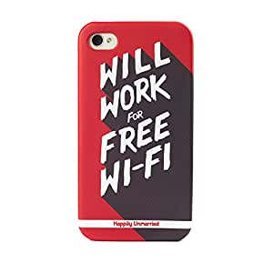 Happily Unmarried Wifi Back Case for Apple iPhone 4/4S (Red)