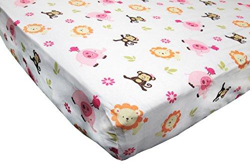 Little Bedding Jungle Crib Sheet, Raspberry