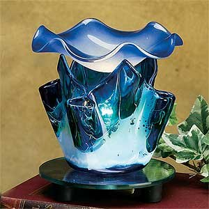 """Electric Essential Oils Fragrance Oils Diffuser Burner W/ Free One Bottle(1/2 Fl.Oz) Random Fragrance Oil- Marble Grain Tulip, Blue Design And Gorgeous Waterwave Glass Top,35 Watt Halogen Bulb With Touch Dimmer Switch , 4 3/4"""" H, The Most High-End Quality"""