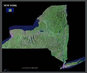 """New York state from space satellite map/print poster: 36"""" x 30.25"""" glossy"""