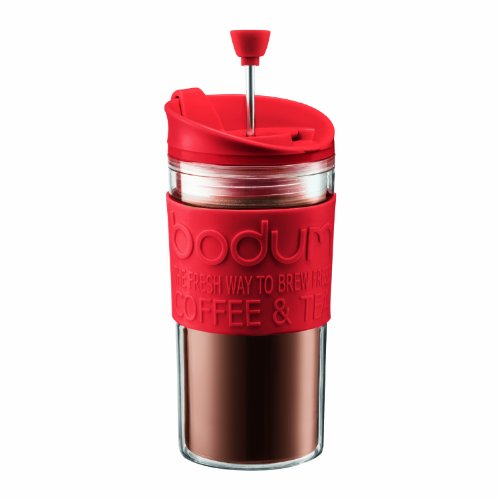 Bodum Medium Travel Press 12-Ounce French Press Coffeemaker, Red