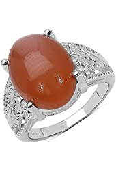 Peach Moonstone Cabachon Ring Oval 16x12 mm in 925 Sterling Silver - Ring Size 7