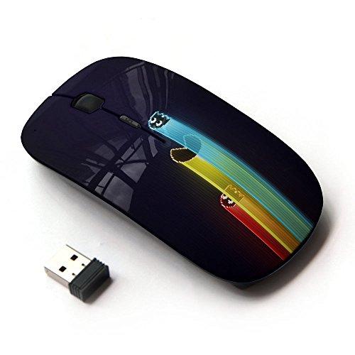 KawaiiMouse [ Mouse Senza Fili Ottico 2.4G ] Computer Game Retro Neon Characters Drawing