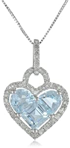 10k White Gold Half Moon and Princess Aquamarine Heart and Diamond-Accent Pendant Necklace (1/5 cttw, I Color, I2-I3 Clarity), 18""