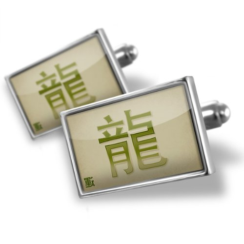 Sterling Silver Cufflinks Dragon Chinese characters, green letter – Neonblond
