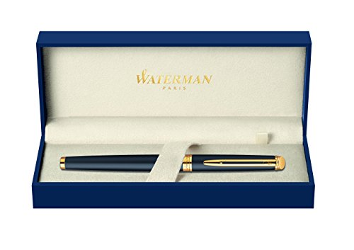 Waterman Hemisphere Gold Trim Fountain Pen – Medium Nib, Matte Black