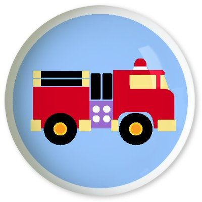 Kids Firetruck Drawer Knob - Trains, Planes & Trucks Collection (2 Pack) front-944183