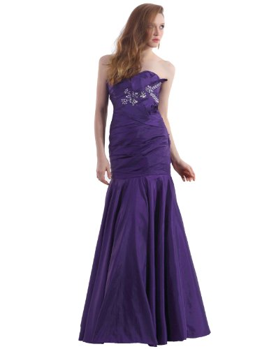 Landybridal 2013 Strapless Floor Length Drop Waist Purple Taffeta Evening Dress F12055 custom made