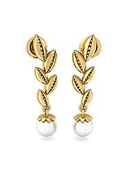 BlueStone 14K Yellow Gold And Pearl Drop Earrings - B00OEMEE7A