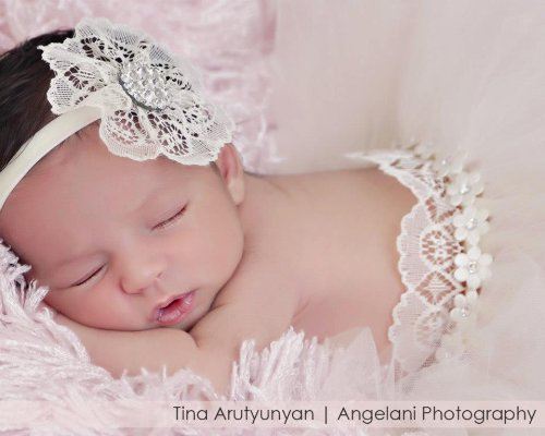 Ivory Lace With Velvet Soft Stretch Band, Handmade With Swarosvki Rhinestones (Newborn) front-668509