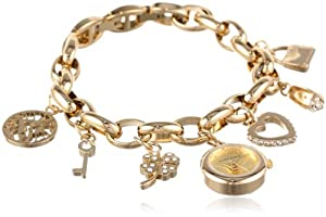 Anne Klein Women's  10-7604CHRM Swarovski Crystal Gold-Tone Charm Bracelet Watch