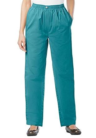 Women's Plus Size Jean, pull on, elastic waist (JADE GREEN,14 W)