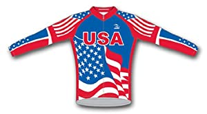 USA Flag Patriotic Cycling Jersey Mens Long Sleeve by Suarez by Suarez